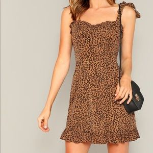 Tie Shoulder Frill Detail Leopard Cami Dress